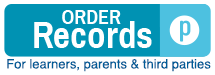 Parchment logo that says order records. For learners, parents & third parties